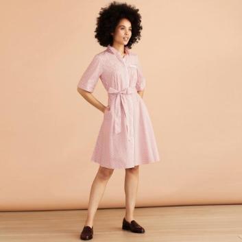 <ブルックス ブラザーズ>Red Fleece コットン ドビーストライプ エルボウスリーブ シャツドレス