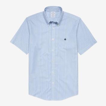 <ブルックス ブラザーズ>ノンアイロン GF ストレッチコットン ストライプ ショートスリーブ スポーツシャツ Regent Fit