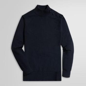 <ブルックス ブラザーズ>コットン/ナイロン ショルダーオープン モックネックセーター