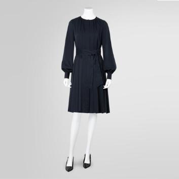 <ブルックス ブラザーズ>ポリエステルクレープ ボウカラー プリーツシャツドレス