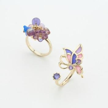 <ANNA SUI>藤の花モチーフ2点セットリング