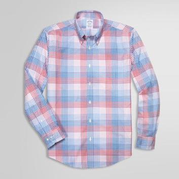 <ブルックス ブラザーズ>ノンアイロン ストレッチコットン カラーブロックギンガムチェック スポーツシャツ Regent Fit