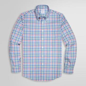 <ブルックス ブラザーズ>ノンアイロン ストレッチコットン マルチギンガムチェック スポーツシャツ Regent Fit