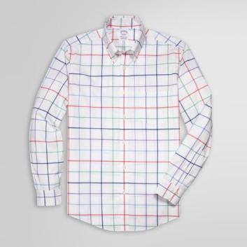 <ブルックス ブラザーズ>ノンアイロン ストレッチコットン ビッグマルチタッターソール スポーツシャツ Regent Fit