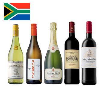 【送料無料】<A-styleソムリエ厳選>急成長の南アフリカワイン赤白スパークリング5本セット
