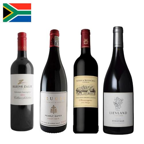 【送料無料】<A-styleソムリエ厳選>南アフリカのスタイルが分かる赤ワイン4本セット