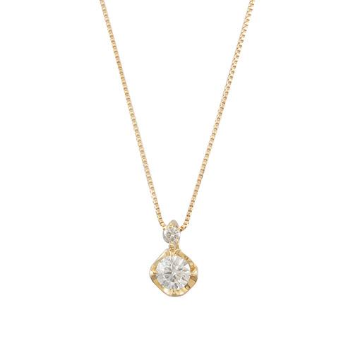 <ミワ>K18ダイヤモンドネックレス