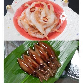 <川村水産>ほたるいか沖漬2種×白えび釜揚げ甘酢漬セット
