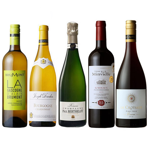 【送料無料】シャンパンが1本入ったフランス周遊ワイン5本セット