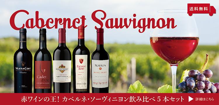 【送料無料】赤ワインの王!カベルネ・ソーヴィニヨン飲み比べ5本セット