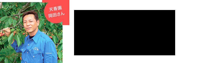 天香園 岡田さん 天香園の腕利きの職人がこだわって育てます。有名な佐藤錦の育ての親「天香園」、佐藤錦と共に歩んだ100余年。培われた確かな目と腕を持ったつくり手が、品種はもちろん安心・安全にこだわって育てたさくらんぼをお届けします。