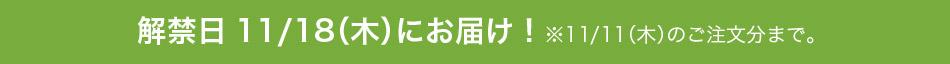 解禁日11/18(木)にお届け!※11/11(木)のご注文分まで。