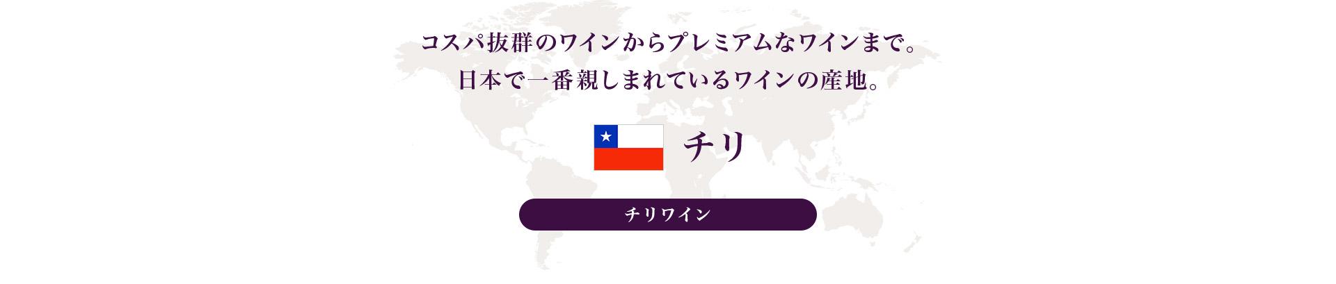 コスパ抜群のワインからプレミアムなワインまで。日本で一番親しまれているワインの産地。 チリ チリワイン