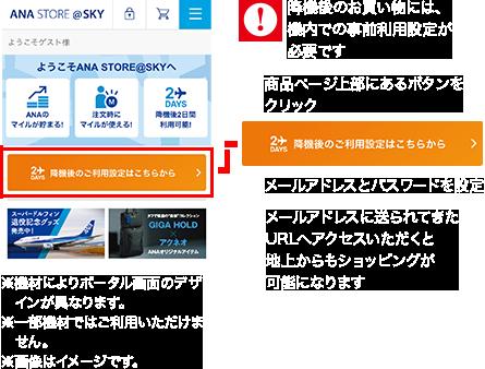 降機後のお買い物には、機内での事前利用設定が必要です①商品ページ上部にあるボタンをクリック②メールアドレスとパスワードを設定③メールアドレスに送られてきたURLへアクセスいただくと地上からもショッピングが可能になります※機材によりポータル画面のデザインが異なります。※一部機材ではご利用いただけません。※画像はイメージです。